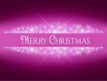 Знамя рождества сияющее с снежинками Стоковые Изображения