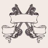 Знамя сбора винограда и знак ключей иллюстрация вектора