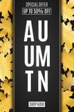 Знамя сети для продажи осени Рекламировать сезонное знамя Поздравительная открытка приглашения золотистый клен листьев Ярлык с те Стоковая Фотография RF