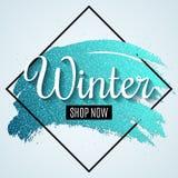 Знамя сети зимы для продажи с щеткой grunge Большая сезонная продажа также вектор иллюстрации притяжки corel стоковое фото rf