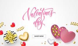 Знамя сети продажи дня валентинок для ходить по магазинам украшения подарочной коробки сердца с конфетой шоколада в золотой оболо Стоковые Изображения RF