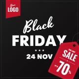 Знамя сети черного квадрата продажи пятницы социальное Стоковое Фото