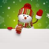 Знамя снеговика на зеленом цвете Стоковое фото RF