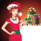 Знамя сообщения красотки Санта рождества иллюстрация штока