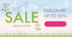 Знамя социальной сети продажи весны горизонтальное Стоковое Изображение