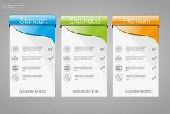 3 знамя, список цен на товары, интерфейс для места знамя вектора для сети app положение 3 Стоковое Изображение RF