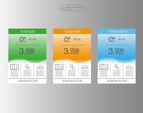 3 знамя, список цен на товары, интерфейс для места знамя для сети app положение 3 3 оценивая таблицы для сети Стоковое Фото