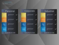 3 знамя, список цен на товары, интерфейс для места знамя для сети app Стоковое фото RF
