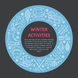 Знамя спорт зимы, рента оборудования на лыжном курорте Vector линия значок коньков, хоккейных клюшек, скелетонов, сноуборда, снег иллюстрация штока