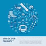 Знамя спорт зимы, рента оборудования на лыжном курорте Vector линия значок коньков, хоккейных клюшек, скелетонов, сноуборда, снег иллюстрация вектора