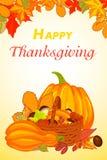 Знамя счастливого благодарения вертикальное, стиль шаржа иллюстрация вектора