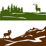 Знамя с ландшафтом горы и лесом, силуэтом Стоковое Фото