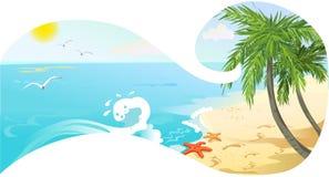 Знамя с видом на море Стоковое Изображение RF