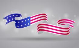 Знамя с лентой американского флага Символ флага США 4-ое июля иллюстрация вектора