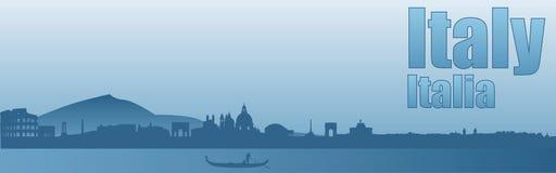 Знамя с изображением визирований Италии иллюстрация штока