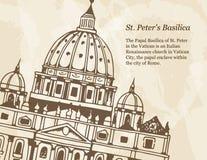 Знамя с иллюстрацией базилики St Peter в Ватикане, Риме, Италии иллюстрация вектора