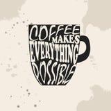 Знамя с кофейной чашкой и цитатой Кофе делает все возможный иллюстрация штока