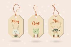 Знамя с милыми животными зимы с настоящими моментами С Рождеством Христовым a иллюстрация штока