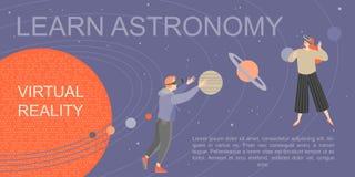 Знамя с молодыми людьми изучая астрономию с помощью стеклам виртуальной реальности Сыграйте и выучите с современной технологией иллюстрация вектора