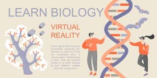 Знамя с молодыми людьми изучая биологию с помощью стеклам виртуальной реальности Сыграйте и выучите с современной технологией бесплатная иллюстрация