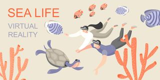 Знамя с молодыми людьми изучая подводный мир с помощью стеклам виртуальной реальности Сыграйте и выучите с современным иллюстрация вектора