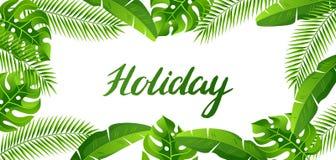Знамя с тропическими листьями ладони Экзотические тропические заводы Иллюстрация природы джунглей Стоковые Фото
