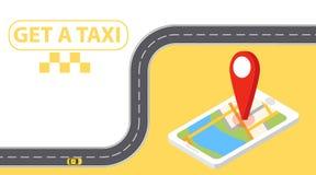 Знамя такси равновеликое Иллюстрация онлайн мобильного обслуживания такси заказа применения горизонтальная Онлайн такси в совреме иллюстрация штока