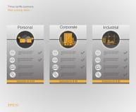 Знамя 3 тарифы и списки цен на товары сеть иллюстрации элементов abstrat Хостинг плана Дизайн вектора для сети app План для вебса Стоковое Изображение RF