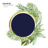 Знамя тропических листьев акварели круглое с изолированным космосом для текста, Зеленая экзотическая иллюстрация заводов Рамка зо иллюстрация вектора