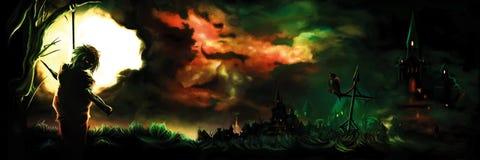 Знамя ужаса с вися вампиром или колдуном иллюстрация штока