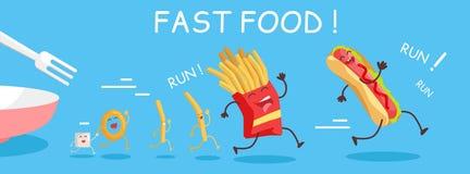 Знамя фаст-фуда схематическое Счастливая еда для ребенка бесплатная иллюстрация