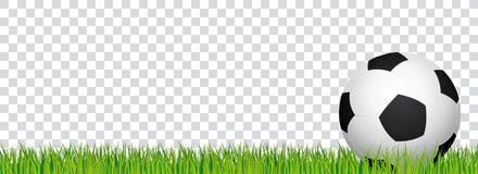 Знамя футбола Трава футбольного стадиона и прозрачная предпосылка Заголовок с футбольным мячом в правильной позиции Стоковая Фотография
