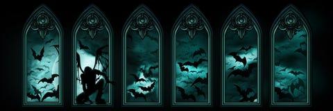 Знамя хеллоуина с летучими мышами и упаденным ангелом иллюстрация штока