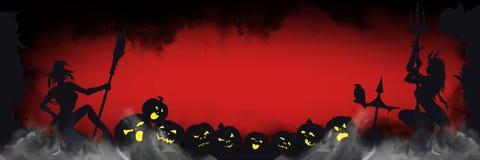 Знамя хеллоуина с зловещими силуэтами Стоковое Фото