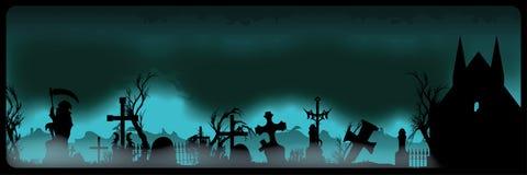Знамя хеллоуина с кладбищем Стоковая Фотография