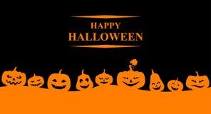 Знамя хеллоуина с оранжевыми тыквами Стоковое Изображение