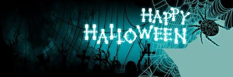 Знамя хеллоуина с spiderweb и силуэтом кладбища Стоковое Изображение RF