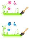 знамя цветет зеленый paintbrush Бесплатная Иллюстрация