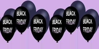 Знамя черной продажи пятницы горизонтальное Лоснистые воздушные шары летая Стоковые Фотографии RF