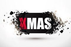 Знамя черноты Xmas с влиянием взрыва звезды абстрактной картины конструкции украшения рождества предпосылки темной красные белые Стоковая Фотография