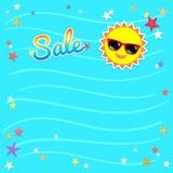 Знамя шаблона продажи лета, иллюстрация вектора в красочное Стоковые Изображения