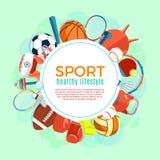 Знамя шариков спорта и оборудования игры Плакат с спортом текста для знамени, стикера, сети Здоровые инструменты образа жизни бесплатная иллюстрация