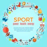 Знамя шариков спорта и оборудования игры Предпосылка для выдвиженческих плакатов, рогулек рекламы, брошюры или буклета иллюстрация вектора