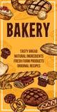 Знамя эскиза хлеба вектора для магазина хлебопекарни иллюстрация штока