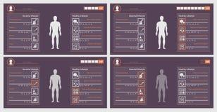 Знамя этапов игры здравоохранения, образ жизни иллюстрация штока