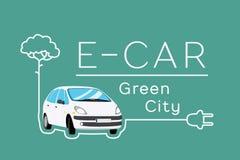 Знамя электрического автомобиля иллюстрация вектора