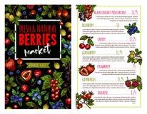 Знамя ягоды и плодоовощ для шаблона списка цен на товары иллюстрация вектора