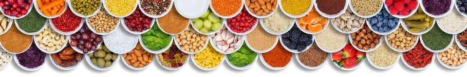 Знамя ягод ингредиентов специй предпосылки еды фруктов и овощей сверху стоковая фотография rf