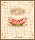 Знамя для меню с сосиской Стоковое Фото