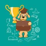 Знамя для образования с собакой шаржа Стоковые Изображения